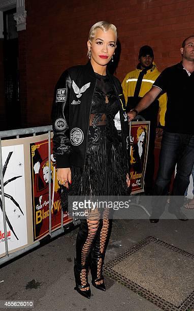 Rita Ora leaves Iggy Azalea's concert at Shepherds Bush on September 17 2014 in London England