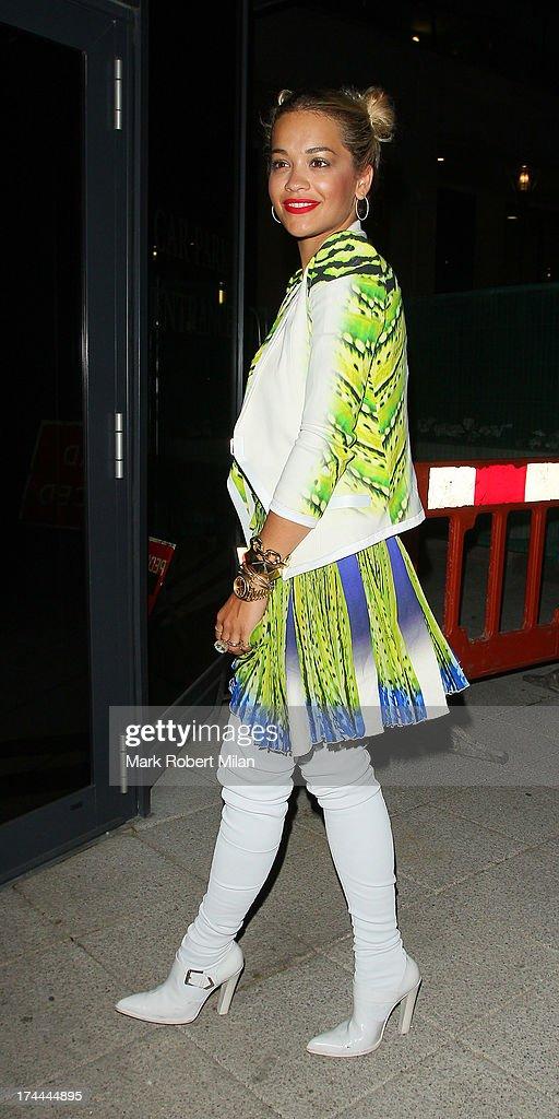 Rita Ora leaving Le Baron club on July 25, 2013 in London, England.
