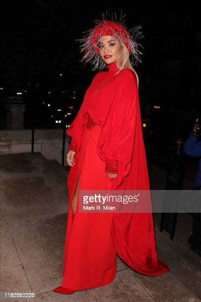 Rita Ora leaving the Cartier dinner at the Chiltern Firehouse on October 21, 2019 in London, England.