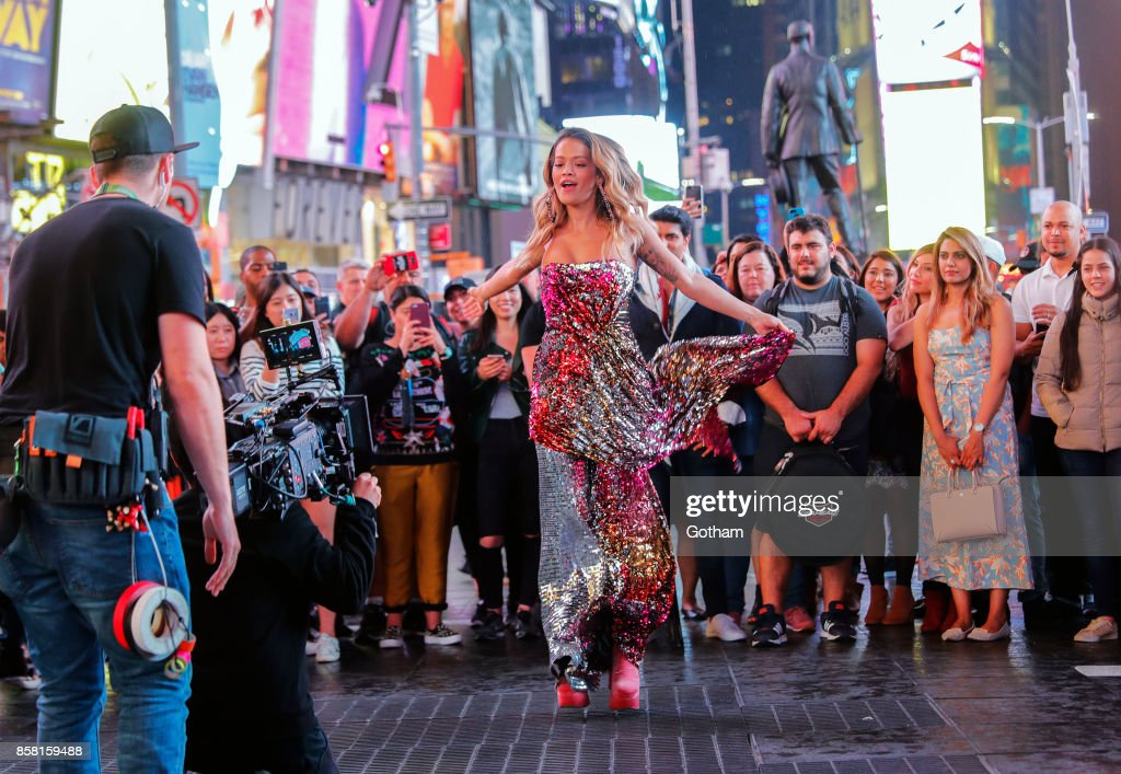 Rita Ora on location for a music video on October 5, 2017 in New York City.
