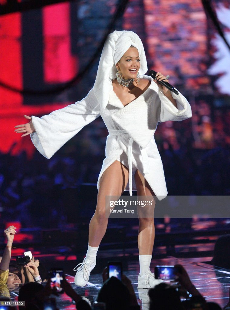 Rita Ora on stage during the MTV EMAs 2017 held at The SSE Arena, Wembley on November 12, 2017 in London, England.