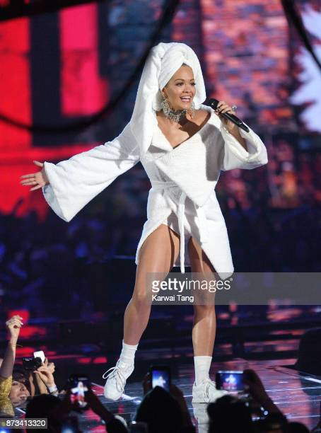 Rita Ora on stage during the MTV EMAs 2017 held at The SSE Arena Wembley on November 12 2017 in London England