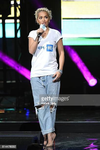 Rita Ora on stage during WE Day at SSE Arena on March 9 2016 in London England WE Day is a celebration of youth making a difference in their local...