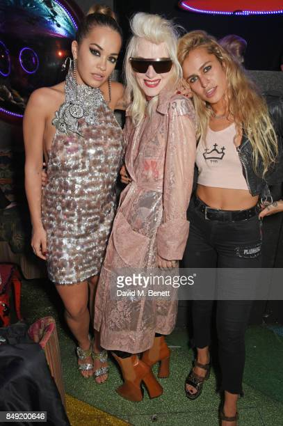 Rita Ora Pam Hogg and Alice Dellal attend the LOVE magazine x Miu Miu party held during London Fashion Week at Loulou's on September 18 2017 in...