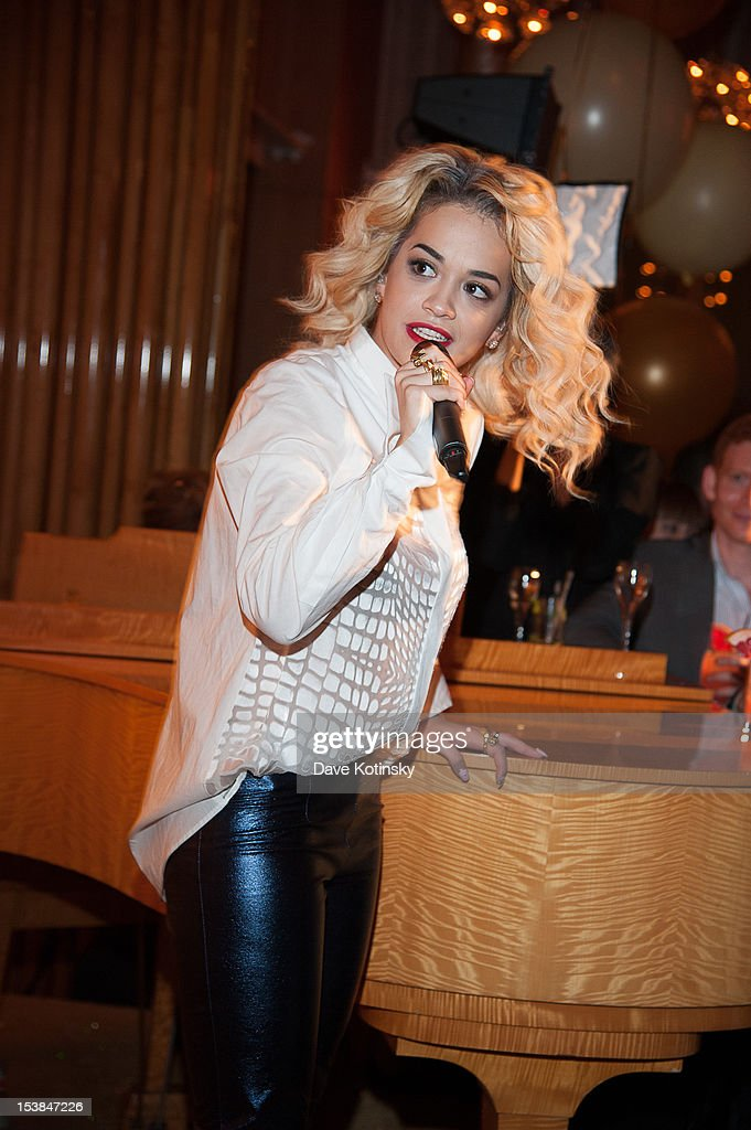 Rita Ora performs at the Absolut Tune Launch Party at The Top of The Standard on October 9, 2012 in New York City.