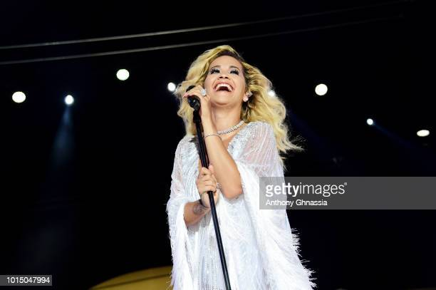 Rita Ora performs at the Unicef Summer Gala Presented by Luisaviaroma dinner at Villa Violina on August 10 2018 in Porto Cervo Italy