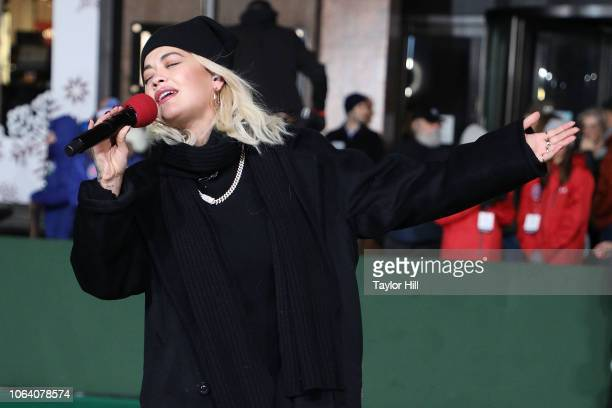 Rita Ora performs during Day 2 of the 2018 Macy's Thanksgiving Day Parade Rehearsals at Macy's Herald Square on November 20 2018 in New York City