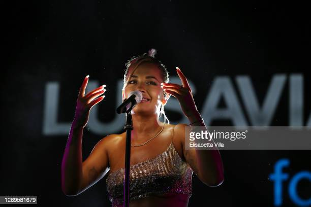 Rita Ora performs during the party at the LuisaViaRoma for Unicef event at La Certosa di San Giacomo on August 29 2020 in Capri Italy