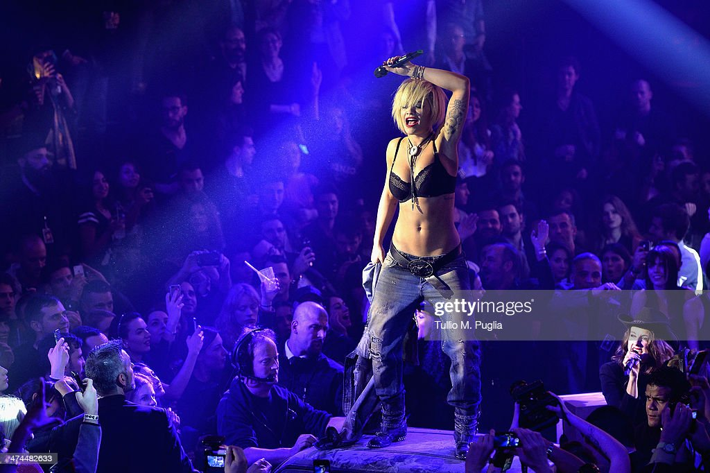 Rita Ora performs during the Philipp Plein show after party as part of Milan Fashion Week Womenswear Autumn/Winter 2014 on February 23, 2014 in Milan, Italy.