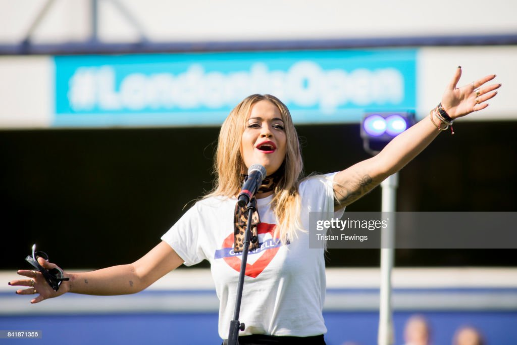 Rita Ora performs live during the #GAME4GRENFELL at Loftus Road on September 2, 2017 in London, England. The charity football match has been set up to benefit those who were affected in the Grenfell Tower disaster.