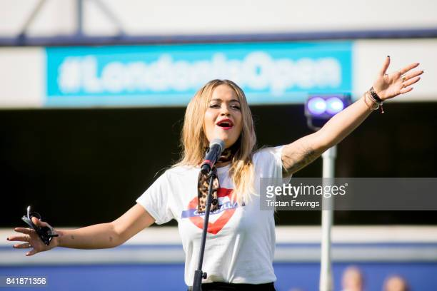 Rita Ora performs live during the #GAME4GRENFELL at Loftus Road on September 2 2017 in London England The charity football match has been set up to...