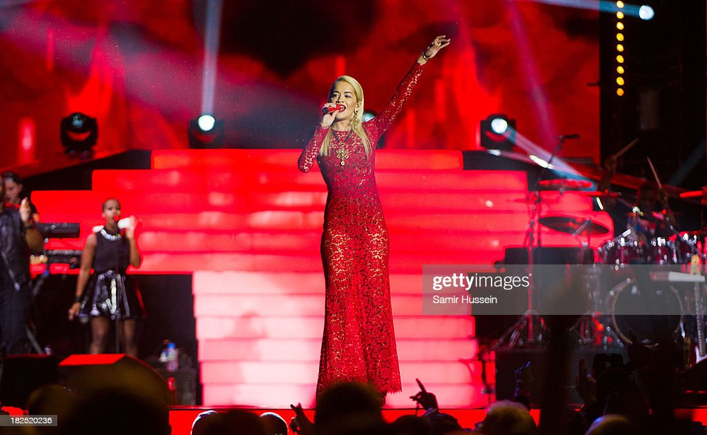 Rita Ora performs live on stage at the Unity concert in memory of Stephen Lawrence at O2 Arena on September 29, 2013 in London, England.