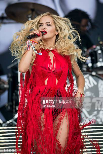 Rita Ora performs live on the Pyramid Stage at day 2 of the 2013 Glastonbury Festival at Worthy Farm on June 28 2013 in Glastonbury England