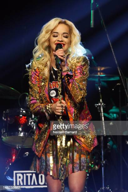 Rita Ora performs on stage as part of VEVO LIFT and McDonald's Present Rita Ora at Gramercy Theatre on June 12, 2012 in New York City.