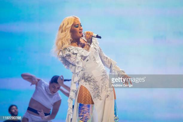 Rita Ora performs on stage at First Direct Arena Leeds on May 28 2019 in Leeds England