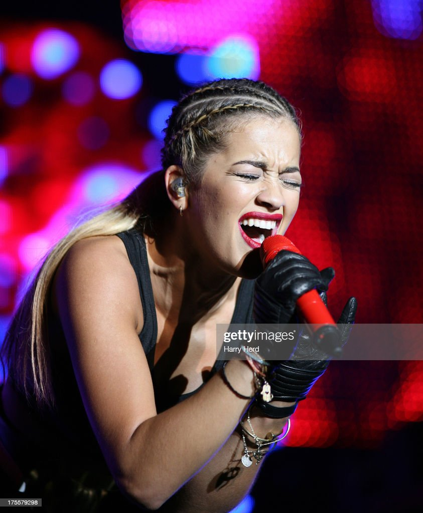 Rita Ora performs on stage at Lytham Proms at Royal Lytham & St. Annes on August 4, 2013 in Lytham St Annes, England.