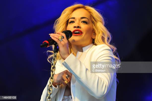 Rita Ora performs on stage during day 2 of the Lovebox Festival at Victoria Park on June 16 2012 in London United Kingdom
