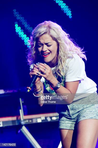 Rita Ora performs on stage during Girlguiding UK Big Gig at LG Arena on March 31, 2012 in Birmingham, United Kingdom.