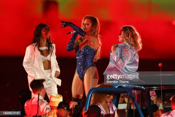 Rita Ora performs on stage during the 43rd Sydney Gay and Lesbian Mardi Gras Parade at the SCG on March 06, 2021 in Sydney, Australia. The Sydney Gay...