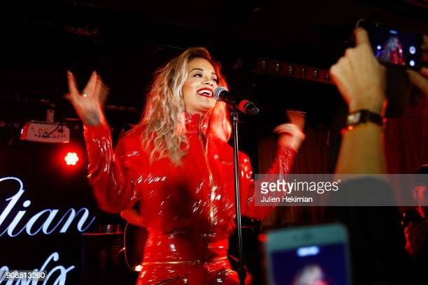Rita Ora performs on stage during the Kilian Party as part of Paris Fashion Week on January 21 2018 in Paris France
