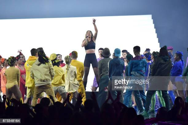 Rita Ora performs on stage during the MTV EMAs 2017 held at The SSE Arena Wembley on November 12 2017 in London England