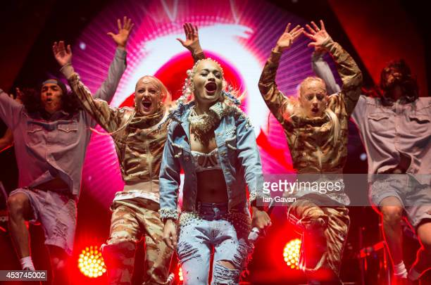 Rita Ora performs on the Virgin Media stage during Day 2 of the V Festival at Hylands Park on August 17 2014 in Chelmsford England