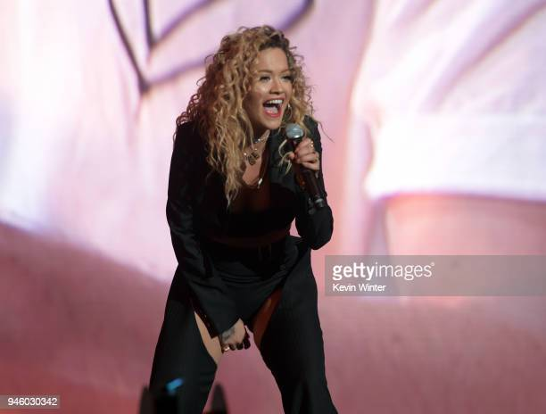 Rita Ora performs onstage during the 2018 Coachella Valley Music And Arts Festival at the Empire Polo Field on April 13 2018 in Indio California
