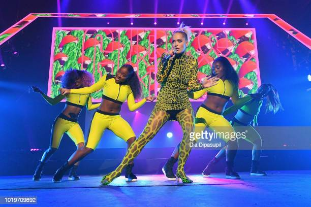 Fans react as Rita Ora performs onstage during the MTV VMA Kickoff Concert presented by DirecTV Now at Terminal 5 on August 19 2018 in New York City