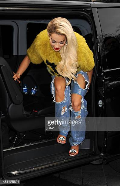Rita Ora pictured arriving at Global Radio on March 28, 2014 in London, England.