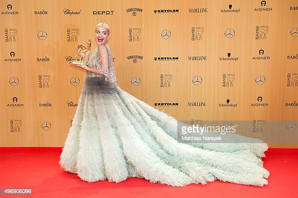 Rita Ora poses at the Bambi Awards 2015 winners board at Stage Theater on November 12 2015 in Berlin Germany