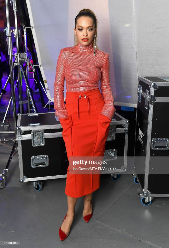 Rita Ora poses during the Velocity 'On Set with Viacom' Showcase held at Ambika P3 ahead of the MTV EMAs 2017 on November 11, 2017 in London, England. The MTV EMAs 2017 is held at The SSE Arena, Wembley on November 12, 2017.