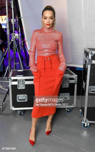 Rita Ora poses during the Velocity 'On Set with Viacom' Showcase held at Ambika P3 ahead of the MTV EMAs 2017 on November 11 2017 in London England...