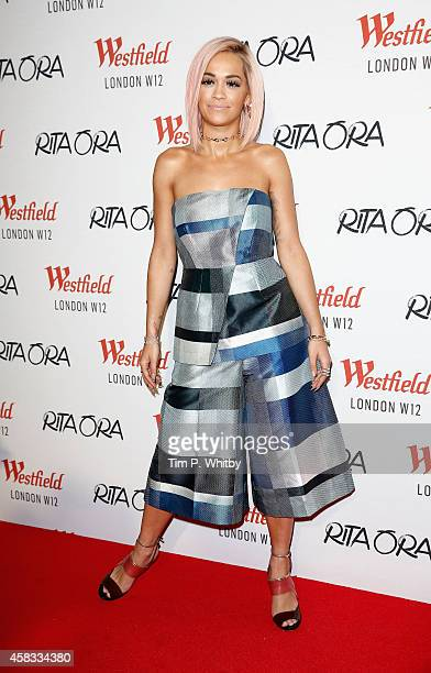 Rita Ora poses for a photo before performing and switching on the Westfield London Christmas Lights at Westfield London on November 3, 2014 in...