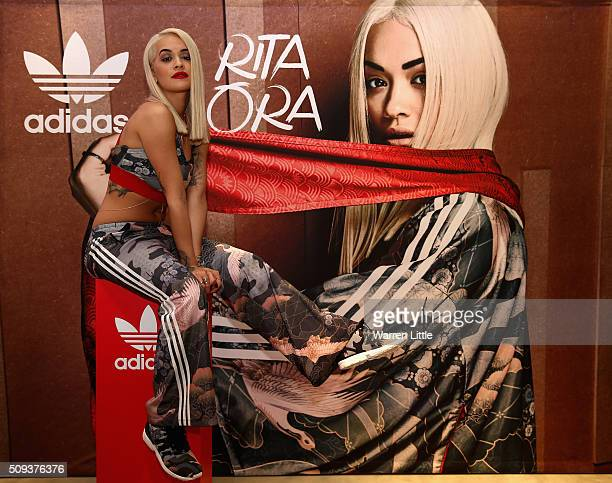 Rita Ora poses for a picture as she launches her adidas Originals Rita Ora SS16 collection at the Originals store at Dubai Mall on February 10 2016...