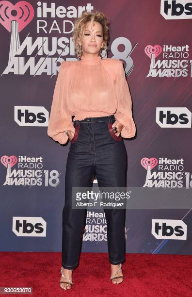 Rita Ora poses in the press room during the 2018 iHeartRadio Music Awards which broadcasted live on TBS TNT and truTV at The Forum on March 11 2018...