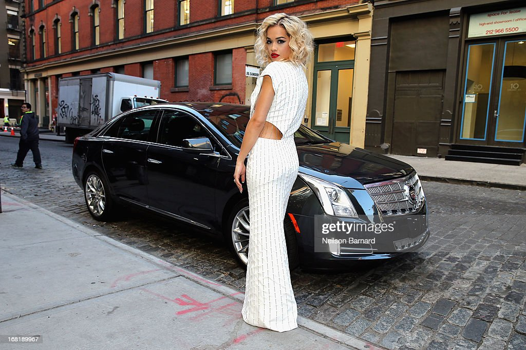 Rita Ora rocks a Thakoon design as she heads to Met Gala in her Cadillac XTS on May 6, 2013 in New York City.