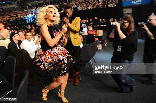 Rita Ora runs to the stage to accept the award for Best Newcomer at the 2012 MOBO awards at Echo Arena on November 3 2012 in Liverpool England