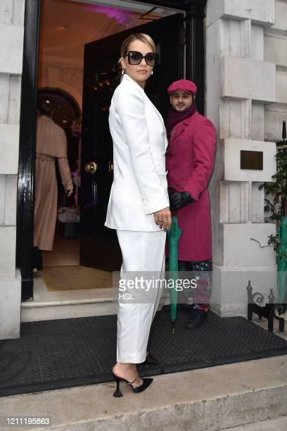 Rita Ora seen arriving at Annabel's club in Mayfair on March 08, 2020 in London, England.