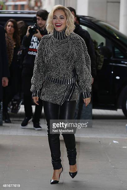 Rita Ora seen arriving at BBC Radio One on March 31 2014 in London England