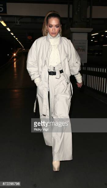 Rita Ora seen arriving at Euston Station after he Manchester gig on November 9 2017 in London England