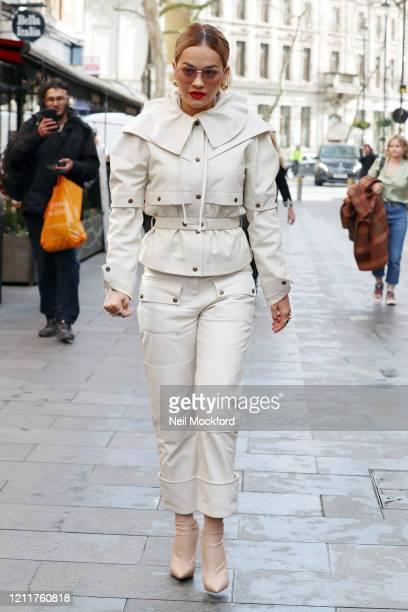 Rita Ora seen arriving at Heart Radio Studios on March 11 2020 in London England