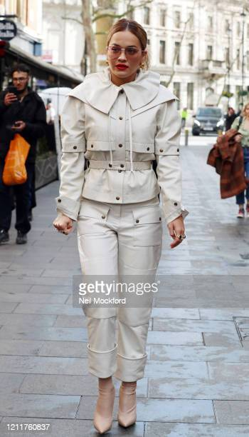Rita Ora seen arriving at Heart Radio Studios on March 11, 2020 in London, England.