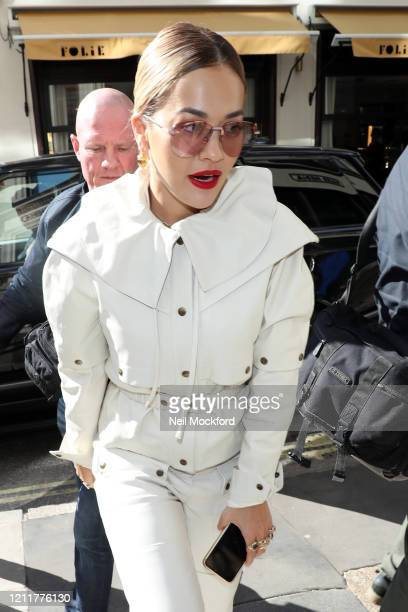 Rita Ora seen arriving at KISS FM Radio Studios on March 11 2020 in London England