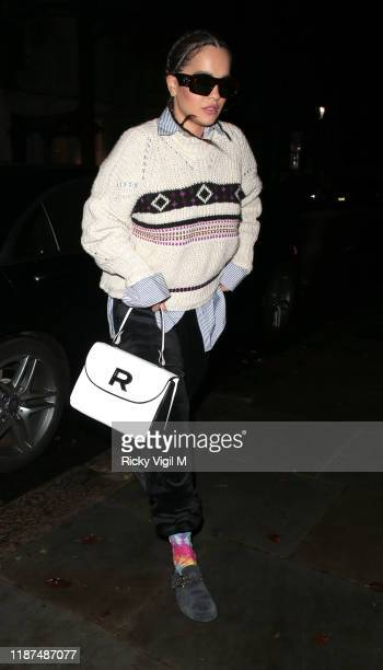 Rita Ora seen arriving home after performing at Centrepoint 50th Anniversary Gala at Roundhouse on November 13 2019 in London England