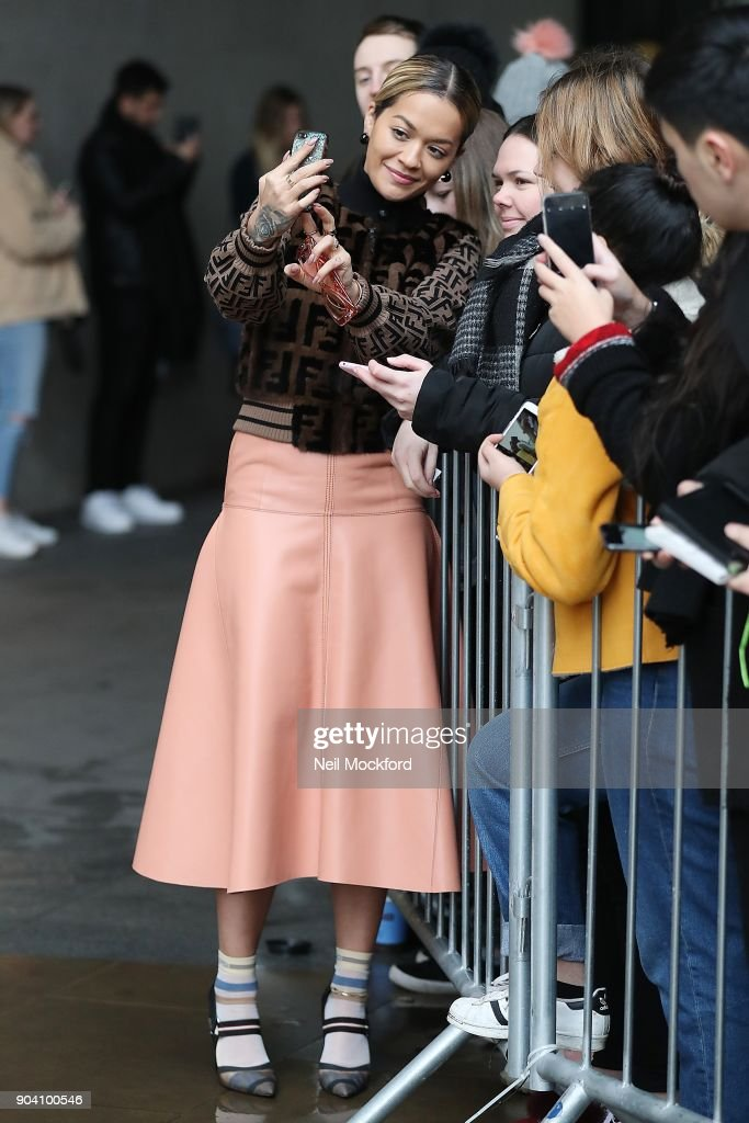 Rita Ora seen at BBC Radio One on January 12, 2018 in London, England.
