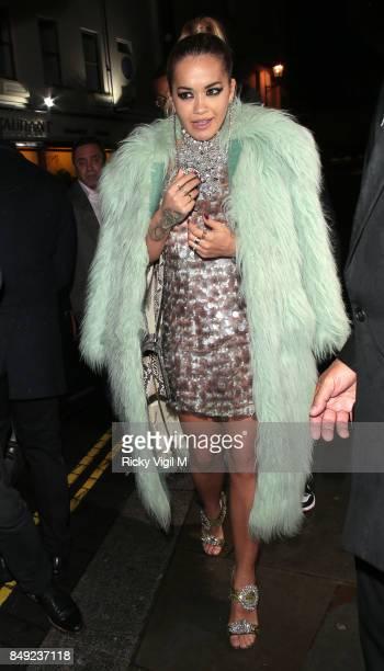 Rita Ora seen at Miu Miu X LOVE Magazine party at No 5 Hertford Street during London Fashion Week September 2017 on September 18 2017 in London...