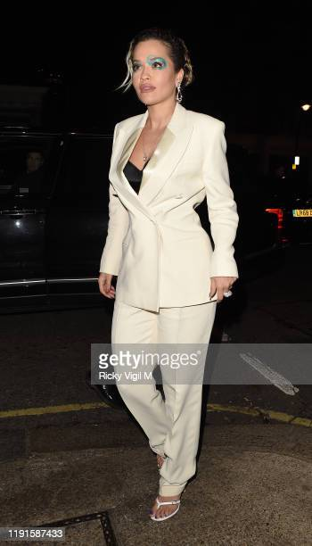 Rita Ora seen attending Giorgio Armani - Fashion Awards afterparty at Harry's Bar on December 02, 2019 in London, England.