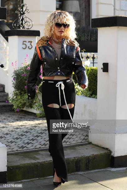Rita Ora seen heading to cohost BBC Radio One with Nick Grimshaw on March 16 2020 in London England