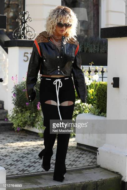 Rita Ora seen heading to co-host BBC Radio One with Nick Grimshaw on March 16, 2020 in London, England.