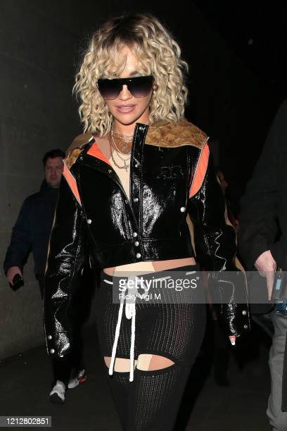 Rita Ora seen leaving BBC Radio One after co-hosting with Nick Grimshaw on March 16, 2020 in London, England.